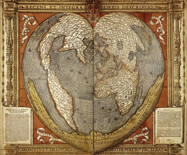 Heart Map Orontius 1534